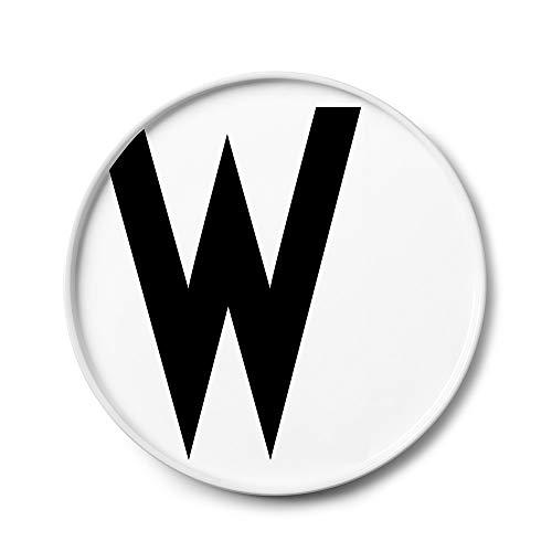 Design Letters Assiette Personnalisée en Blanc Porcelaine Fine de A-Z - W – Assiette Decorative, Idéal décorer, comme Cadeau Personnel, ou pour Les Repas, Compatible Lave-Vaisselle, D: 20cm