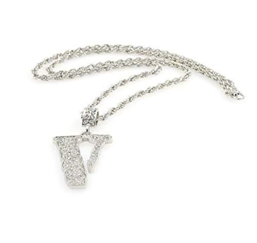 Minshao Damen Charms Halskette Tide Brand Hip Hop Herren Anhänger Mode Voller Diamant V-förmige Halskette