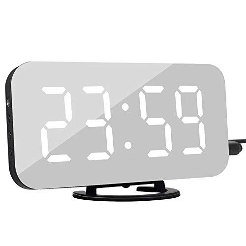 AUA Réveil Numérique, Horloge Miroir LED Affichage de Nuit de l heure de Répétition avec 2 Ports de Sortie USB Horloge de Table