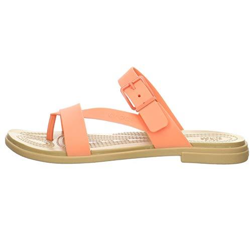 Crocs Tulum Toe Post Sandal W Women's Sandals, Grapefruit/Tan, 5 US