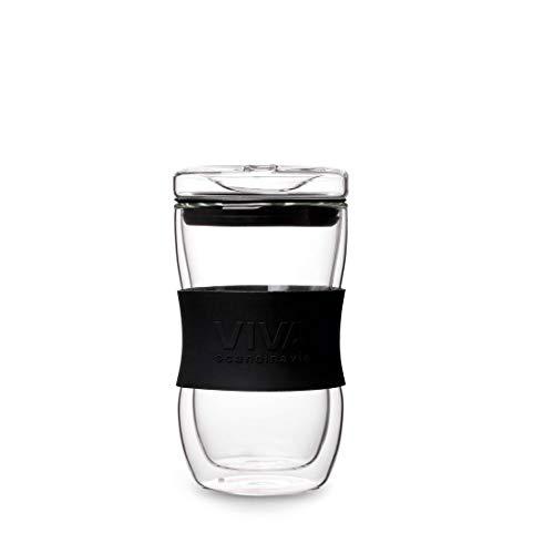 Viva Scandinavia MUG À Cafe en Verre 35CL Double PAROI ET Manchon Silicone Noir V22001