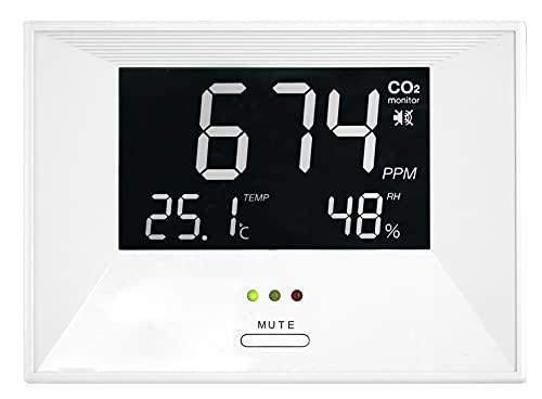 TFA Dostmann CO2-Messgerät, 31.5003, CO2-Monitor AIRCO2NTROL LIFE, mit Temperatur und Luftfeuchtigkeit, Alarmfunktion, weiß