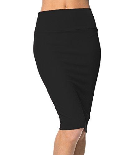 Urban GoCo Femme Midi Jupe Crayon Moulant Elastiquée avec Taille Haute Bodycon (S, Noir)