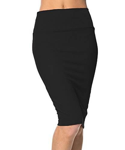 Urbancoco Damen Bleistift Rock Kurz Hohe taille Stretch Business Rock (M, schwarz)