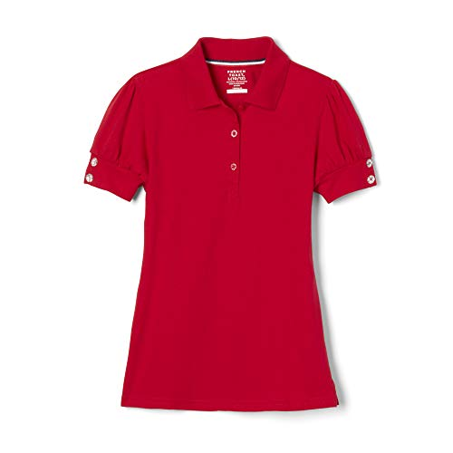 French Toast Big Girls' Puff Sleeve Double Button Polo, Red, 10