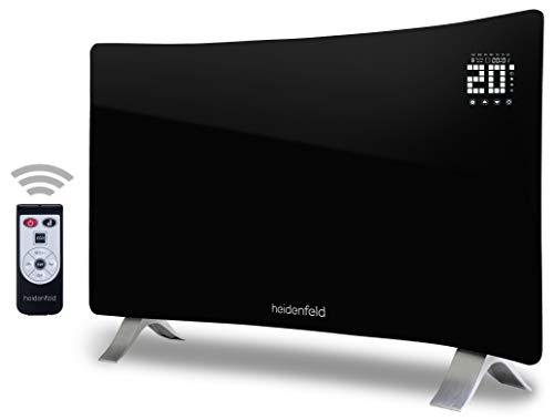 Heidenfeld Curved Glaskonvektor mit Fernbedienung HF-GK100C - 3 Jahre Garantie - 1000 oder 2000 Watt - LED-Touch Display - Heizlüfter Heizgerät Elektroheizung E-Heizung Konvektionsheizgerät
