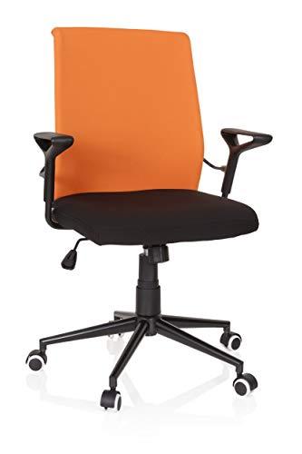 hjh OFFICE 621972 Home-Office Bürostuhl Vigor Stoff Schwarz/Orange Drehstuhl im Retro-Look, höhenverstellbar