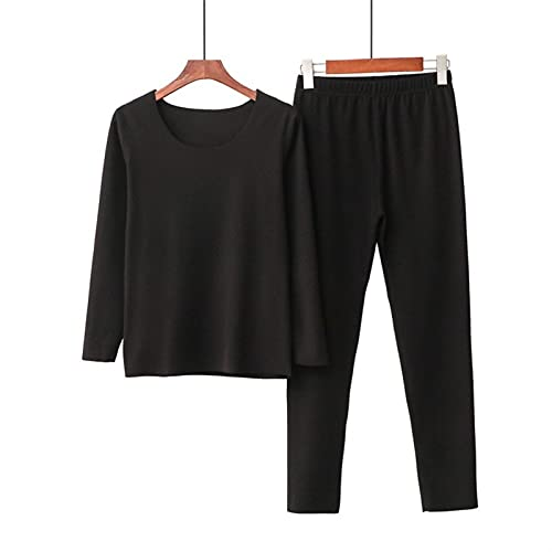 Conjuntos De Ropa Interior Térmica Para Mujeres Lencería Cálida Caliente Poliéster Elástico Camisa Térmica Pantalones Calientes (Color : Black, Size : XX-Large)