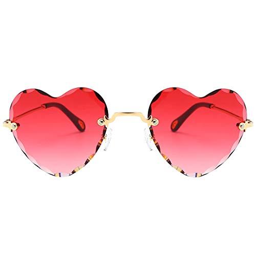 kowaku Gafas de Sol en Forma de Corazón de Moda Gafas de Sol con Lentes Teñidas de Fiesta Clásicas - Gradiente Rojo, Tal como se Describe