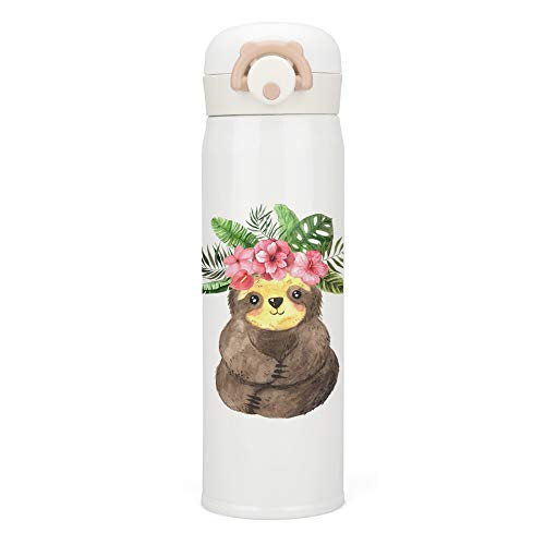 My Daily 17 Ounce Vacuum Insulated Stainless Steel Water Bottle Watercolor Sloth Leakproof Thermoes Compact Flask Coffee Travel Mug