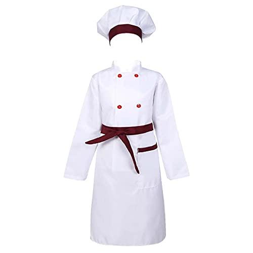 ranrann Disfraz de Cocinero para Nia Nio Cosplay Traje de Cocina 3Pcs Uniforme de Chef Camisa Delantal Gorro Disfraz de Halloween Fiesta Carnaval Borgoa 6-7 aos
