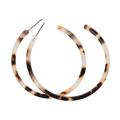 LANDUM Ohrringe aus Acrylharz, Essigsäure Acryl Ohrringe geometrische Schildpatt Creolen für Frauen - Kaffee
