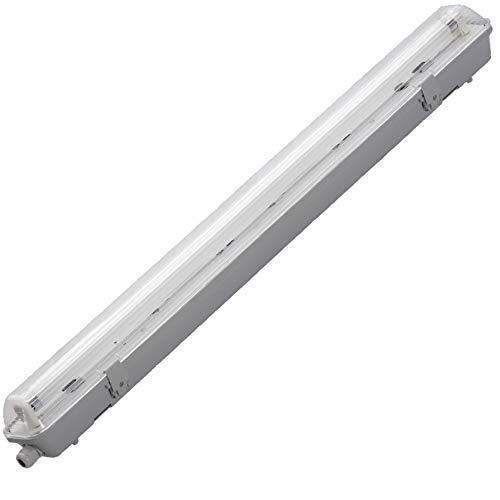 LED Wannenleuchte Feuchtraumleuchte Feuchtraumwannenleuchte lagerbeleuchtung 150cm mit 1 Fassung inkl. LED Röhre Kalteiß | ip65 wasserdicht für innen und Außenanwendungen