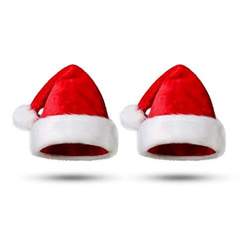 Funhoo Gorro de Papá Noel de Felpa, Gorro de Navidad, Rojo Sombrero...