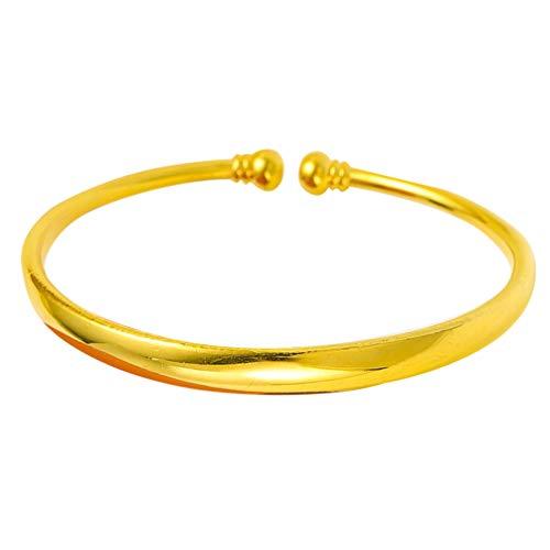 Holibanna Gold Armreifen Offene Manschette Armband Chinesische Traditionelle Armbänder Schmuck Geschenk für Braut Frauen Mädchen Baby Neugeborene (6N Babysbreath Stil) (Glatte Oberfläche)