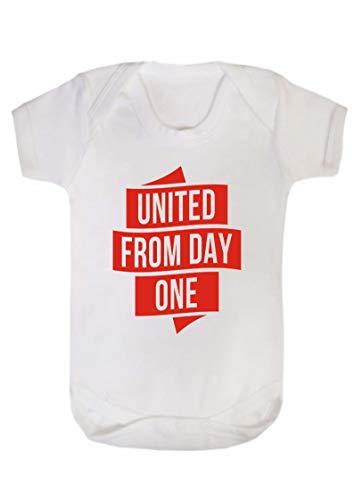 Day One Diddywear Man United Pasgeboren Baby Vest Babygrow Bodysuit Wit Manchester
