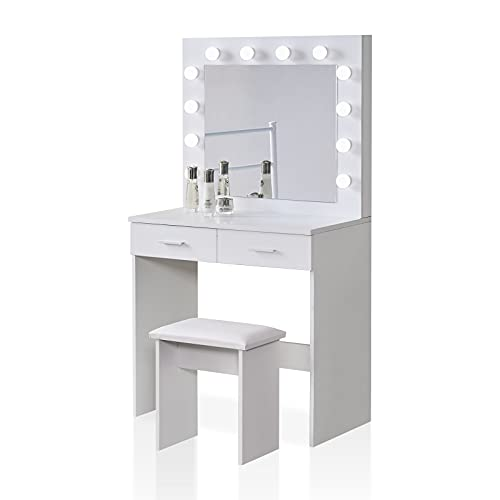 TUKAILAI - Juego de tocador con luces LED ajustables, espejo, 2 cajones grandes y taburete, mesa de maquillaje para dormitorio