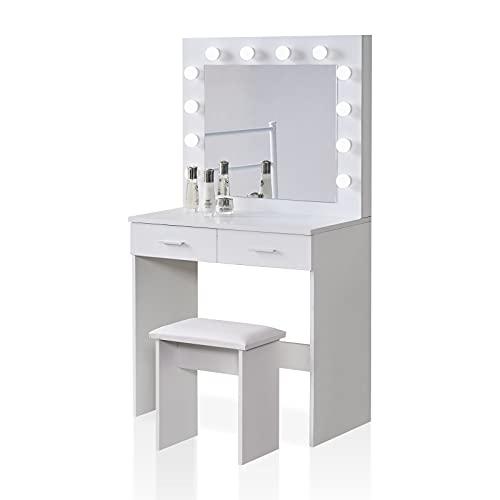 TUKAILAI bianca Set da toeletta con luci LED regolabili, specchio, 2 cassetti grandi e sgabello, tavolo da trucco per camera da letto