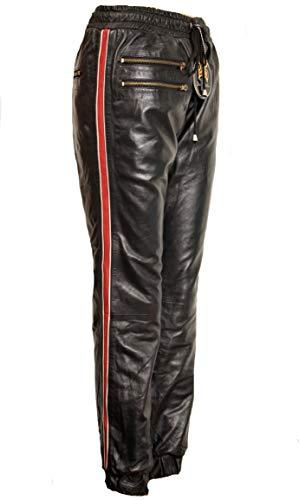 Be Noble Devil - Jogginghose als Lederhose ECHT-Leder roter Seitenstreifen für den Mann (L)