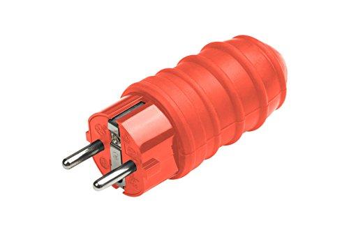 Meister Schutzkontakt-Stecker - Gummi/Kunststoff - rot - 250 V - 16 A - Maximaler Kabelquerschnitt 2,5 mm² - IP44 Außenbereich - Zentrale Einführung / Schuko-Stecker mit ISO-Einsatz / 7421570