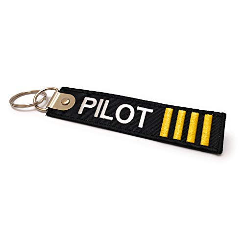 Premium Embroidered Pilot Luggage Tag - 4 Gold Stripes - Aviamart