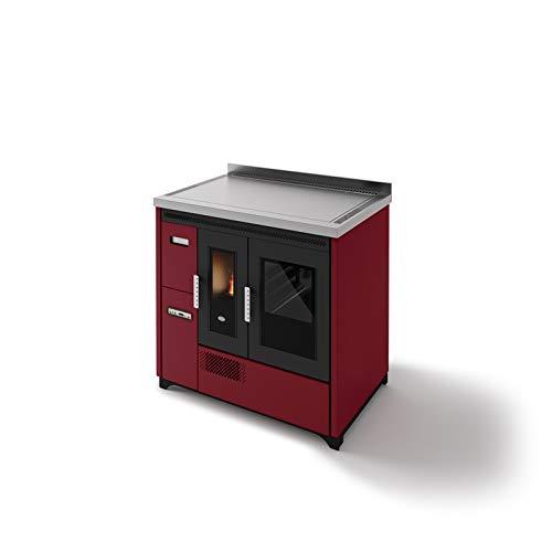 Eva Calor Pelletofen 901669500 Rot mit Ofen 9 kW