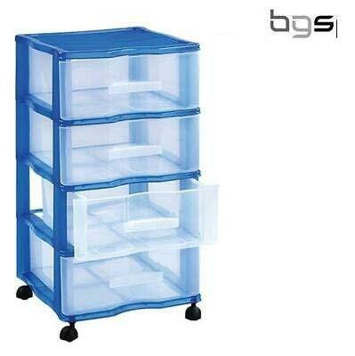B.G.S. Cajonera Oficina Carro peluqueria 4 cajones con Ruedas Organizador de plástico en Azul