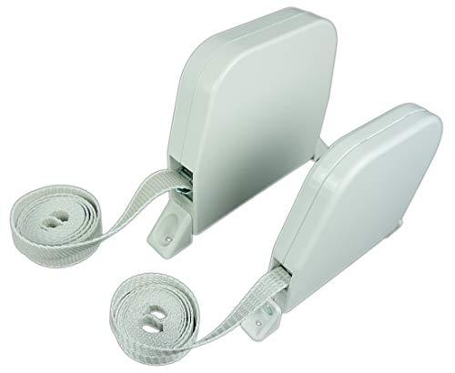 Rollwin 2x Rolladen Gurtwickler Aufputz 23mm | Maxi Weiß mit 5m Gurt| Lochabstand 185mm | Aufklappbar
