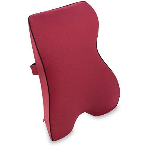 Vitabo Rückenkissen mit Memory-Funktion – ergonomisches Lendenkissen I Lordosenstütze Rückenstütze für Büro Auto (Rot)