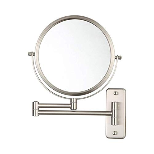 IVQAPP Dressing Mirror Makeup Mirror with Wall Mounted Full Copper Plated Round Mirror Telescopic Mirror Bathroom Wall Silver Mirror Beauty Mirror
