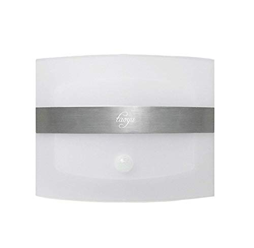 Taoyu Aplique de Pared Inalámbrica Lámpara de pared LED con Sensor de Movimiento con Pilas de Luz Nocturna para Pasillo Armario Escalera Garaje (Blanco)