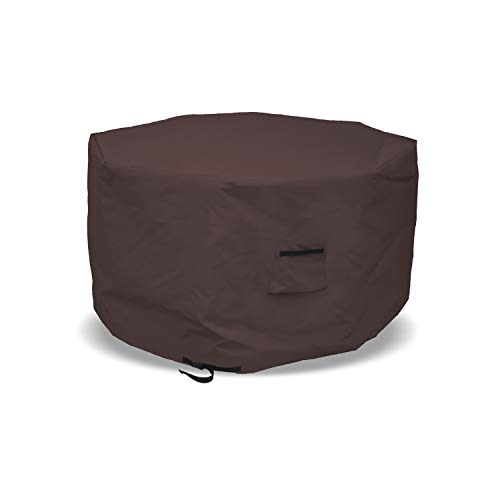 Octagon Fire Pit Cover 12 Oz Waterproof - 100% UV & Weather Resistant Outdoor Fire Pit Table Cover with Air Pocket & Drawstrap for Snug Fit (24' H x 35' D, Coffee)