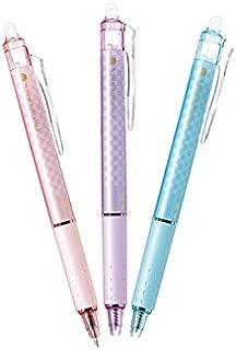 Pilot Frixion Knock Ball Retractable Erasable Gel Ink Pen, Design Series Chequered Pattern, Black Ink ,0.5mm, 3 Designs Set(Pink,Purple,Softblue)