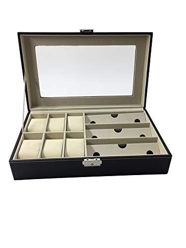 1Plus Genf - Caja para relojes y gafas, para 6 relojes y 3 gafas, color marrón