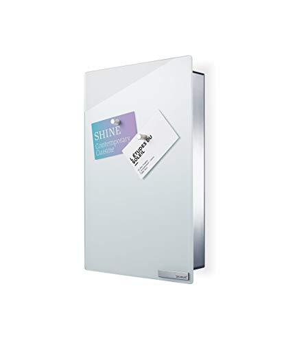 Blomus 65363 sleutelkast/glazen magneetbord Velio, wit 30 x 20 cm wit