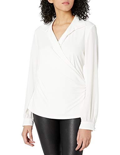 KARL LAGERFELD Paris Damen Faux Wrap Knit Top Hemd, Weiß (Soft White), Mittel