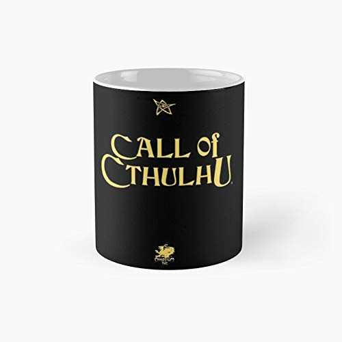 Tazza classica con scritta 'Call of Cthulhu' con logo oro con anziano segno Chaosium Inc   miglior regalo divertente tazze da caffè 325 ml