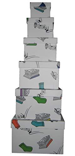 Vily's House Cajas cartón Decoradas con Dibujos Set de 6 tamaños Cuadrados Distintos (Mis Cosas)