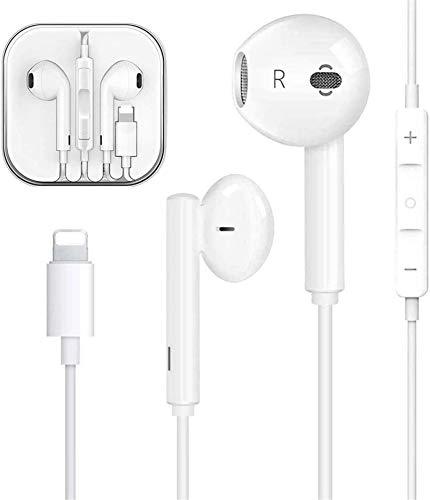 Auriculares para iPhone con micrófono, Auriculares con Funciones de Control de Volumen y Llamada, Compatible con iPhone 12/11/11Pro/XS/XS Max/X/XR/8/8 Plus/7/7 Plus Soporta Todo el Sistema iOS