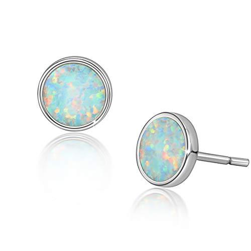 Weiße Opal Ohrstecker für Frauen, 925 Sterling Silber Mode Geschenk Schmuck mit Box Hypoallergene Silber Ohrringe Damen Mädchen Tochter Geschenke zum Geburtstag