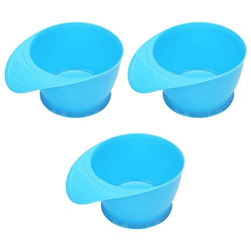 Minkissy 3 Pcs Professionnel Teinte Coloration Bols Cheveux Teinture Bol Couleur Mélange Kit En Plastique DIY Cheveux Coloration Outil pour Hommes Femmes (Bleu)