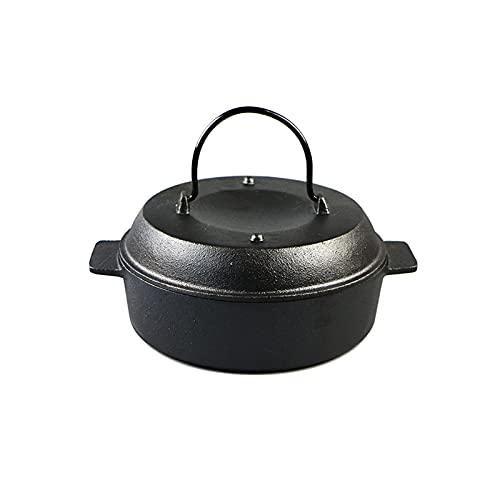 Nye Cast Iron Sweet Potato Pot, Household Roast Sweet Potato Pot, Round Pot Made of Cast Iron, with Portable Handle, Suitable for Roasting Pot, Hot Pot, Black