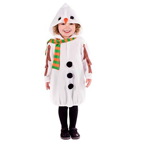 Fun Shack Blanco Disfraz Hombre de Nieve Niños Pequeños, Muñeco De Nieve Disfraz para Niños y Niñas - S