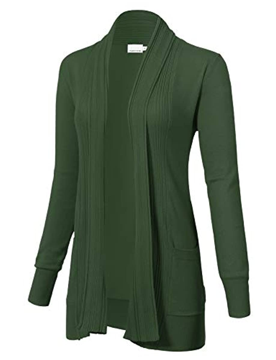 Women's Long Sleeve Open Front Draped Cardigans with Pocket (S-XL)