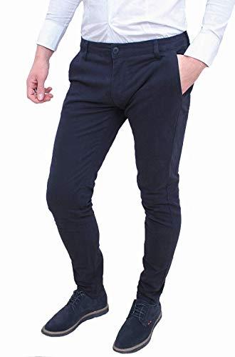 Evoga Pantaloni Uomo Class Primavera Estate Slim Fit Casual in Cotone (48, Blu)