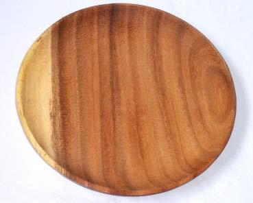 Holzteller Mittelalter Rund | Akazienholz | Handarbeit | Fair Trade (Ø 20cm)