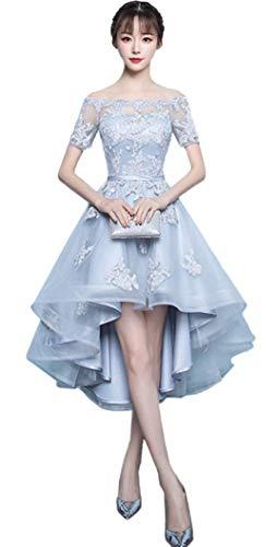Newsight(ニューサイト)レディース ワンピース ドレス 刺繍レース フィッシュテール 結婚式 パーティー (XS, グレー)