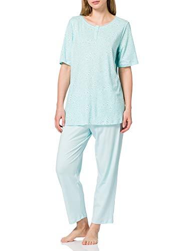 Schiesser Damen Schlafanzug mit 7/8 Langer Hose und 1/2 Arm Oberteil Pyjamaset, Mint, 40