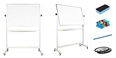 "flybold Mobile Whiteboard 48"" x 36"" inch Magnetic Double Sided Flip Over Dry Erase Reversible Portable Home Office Classroom Board with Magnetic Eraser Ruler 12 Push Pin Magnets 2 Gridding Tapes"