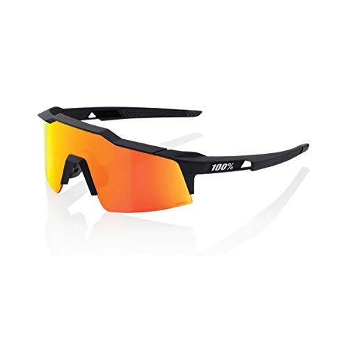 100% Speedcraft Sport Performance Sunglasses (Soft TACT Black - HiPER Red Multilayer Mirror Lens) Sport and Cycling Eyewear